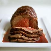 Roast beef, carved