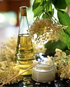Elderflowers, elderflower oil and face cream