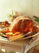Roast turkey with potatoes