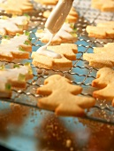 Icing fir tree biscuits