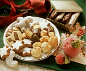 Plate and gift box of Christmas biscuits