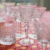 Various empty crystal glasses
