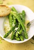 Marinated green asparagus spears