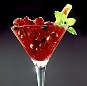 Red fruit sundae: redcurrants, raspberries and cherries