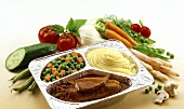 Ready-meal: beef roll, mashed potato, vegetables in foil dish