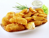 Fish and chips with remoulade dip