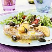 Pesce spada alla castellammarese (swordfish with capers)