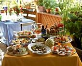 Buffet for a garden party