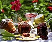 Sour cherry jam on breakfast table