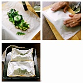 Baking green asparagus in paper