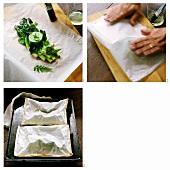 Grünen Spargel in Papierhülle backen