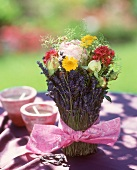 Bouquet of lavender and other flowers as table decoration