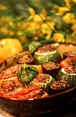 Stuffed tomatoes, aubergines and round courgettes