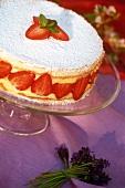 Strawberry and vanilla cream gateau