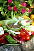 Crudités (platter of fresh vegetables) and anchovy dip