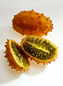 Whole and halved kiwano