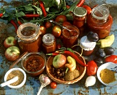 Still life with chutneys and ingredients