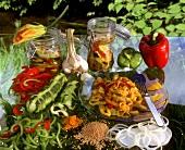 Stillleben mit Zutaten zum Einmachen von Gemüse