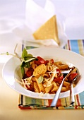 Penne with cherry tomatoes, paprika butter & chili peppers