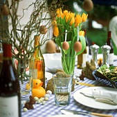 Easter table with tulips