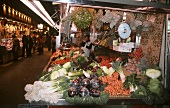 A vegetable stall in the Boqueria in Barcelona, Spain