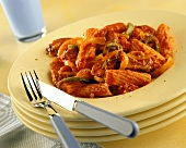 Penne al ragù (Penne with meat and vegetable sauce)