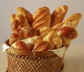 Various types of bread in bread basket