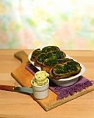 Crostini with ramsons (wild garlic) butter & ramsons pesto