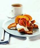 Cake italien (yeast cake) with crème fraiche and peaches