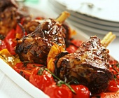 Agnello alla beneventina (lamb shank on tomatoes & peppers)