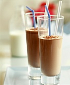 Two glasses of cold cocoa drink