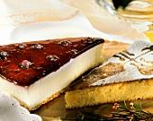 "Cheesecake with berries & ""Tarta de Santiago"" (almond cake)"