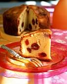 A piece of cherry tart