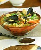 Louisiana gumbo (spicy stew with rice and seafood)
