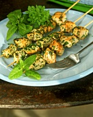 Chicken kebabs with mint and basil