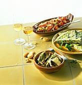 Carxofes, Truita amb espàrrecs, Trampó (appetisers, Majorca)