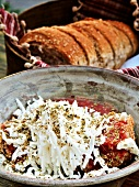 Dakos (bread with tomatoes and grated feta cheese, Crete)