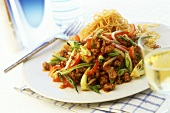 Minced pork with vegetables and noodles, Oriental style