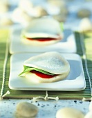 White radish sandwich with basil and tomato filling