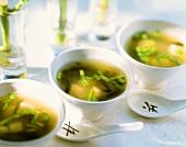 Miso-shiru (miso soup with tofu and seaweed, Japan)