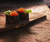 Ikura-sushi (salmon caviare sushi, Japan)