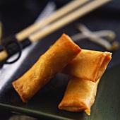 Three deep-fried spring rolls