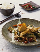 Fried wok vegetables with tempei
