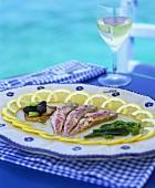 Marinated sardines and glass of white wine (Greece)