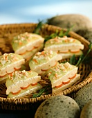 Mini-sandwiches with cucumber and surimi