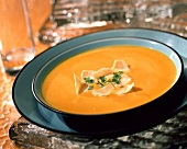 Creamed carrot soup with Parmesan shavings
