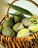 Small wicker basket of fresh almonds