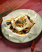Cod fillet with julienne vegetables