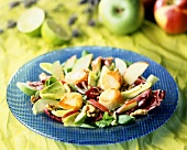 Mesclun salad with fried scallops, nuts and apples
