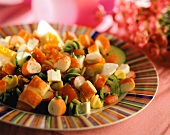 Pasta salad with surimi, sheep's cheese and vegetables